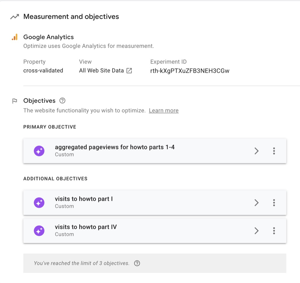 Google Optimize Objectives Overview
