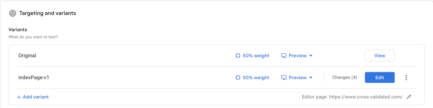 Google Optimize Targeting and Variants Set Up