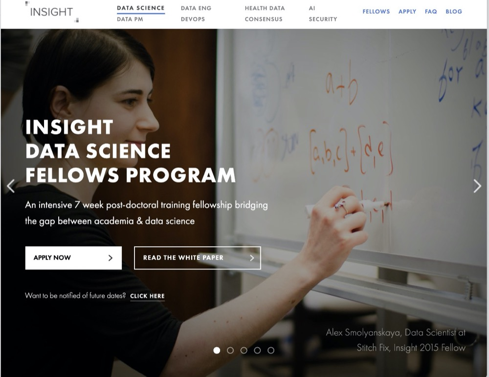 Insight Data Science webpage
